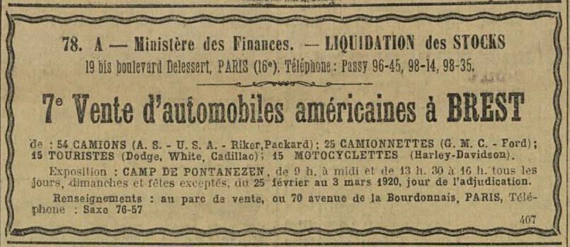 Ventes automobiles américaines à Brest.