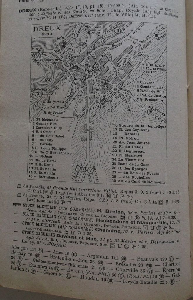 Dreux in Guide Michelin 1922.