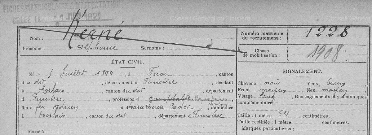 Alphonse Kerné  R.M. (Registre Matricule).