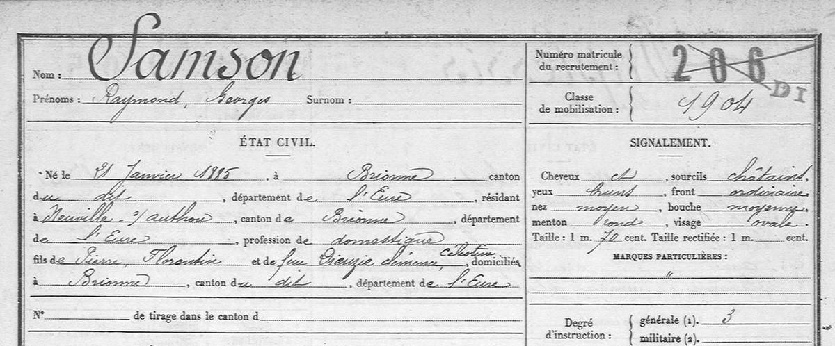Raymond Samson.Chauffeur. R.M. (Registre Matricule).