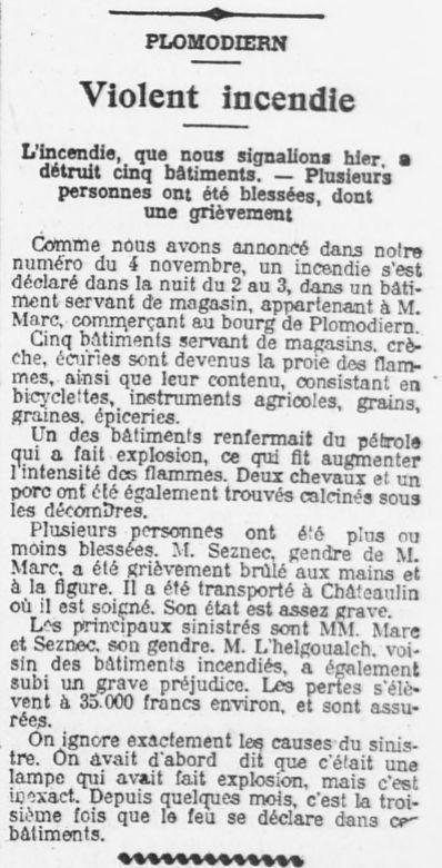 Plomodiern. Incendie 1908.
