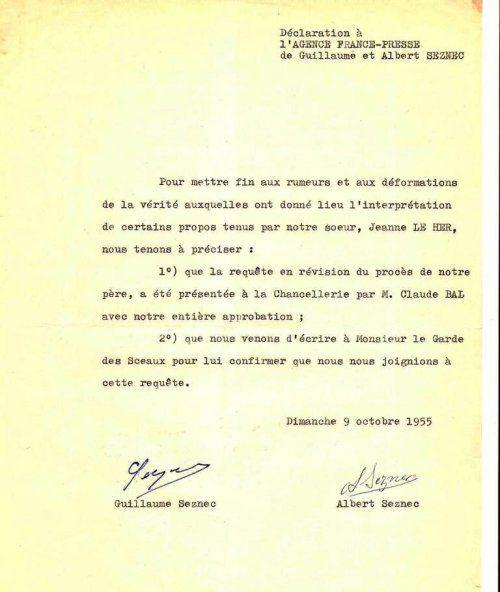 Communiqué AFP Guillaume et Albert, 9 octobre 1955.