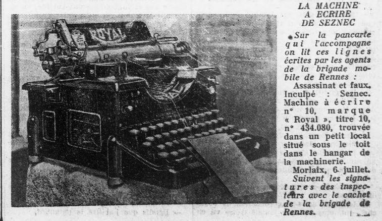 La machine à écrire dans l'Ouest-Eclair.