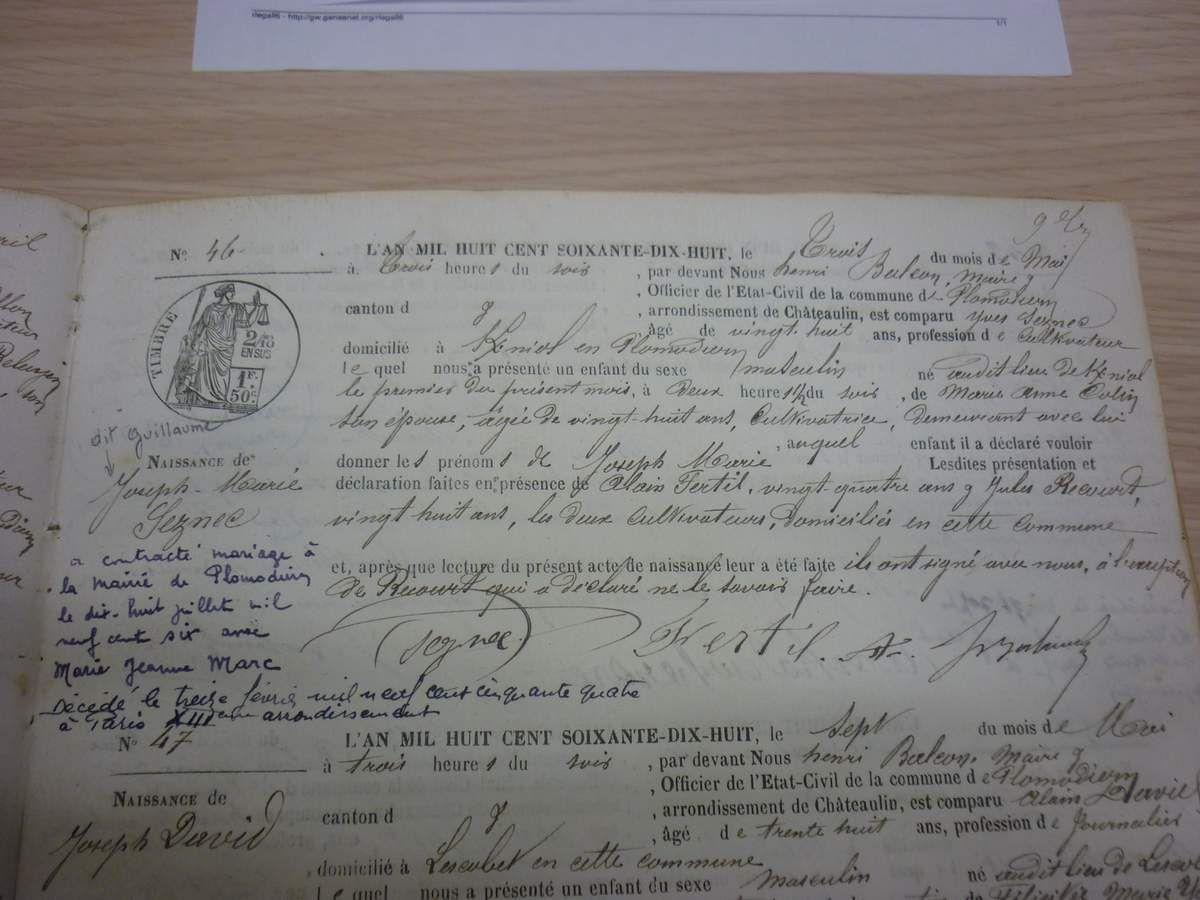 Naissance de Guillaume Seznec in archives de Plomodiern.