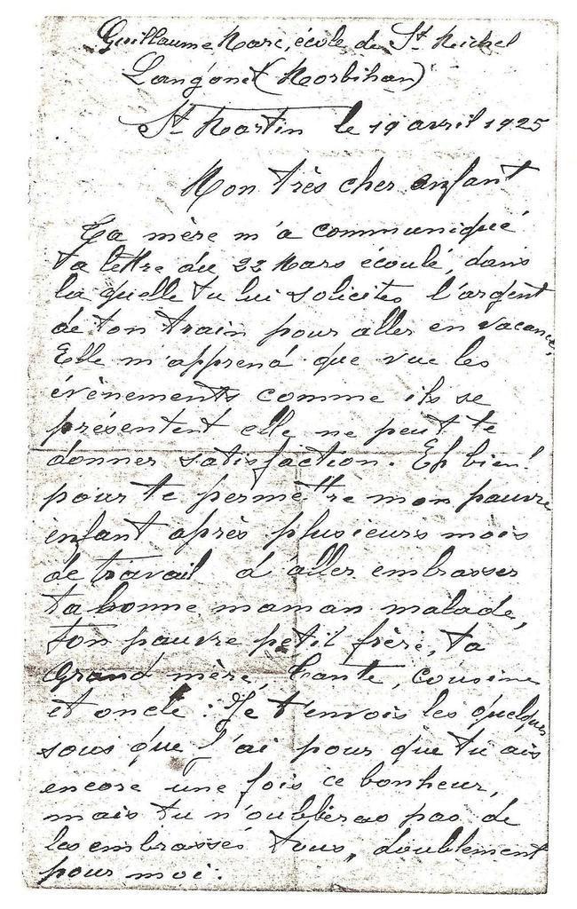 Lettre de Guillaume Seznec à Petit Guillaume. Le 19 avril 1925.