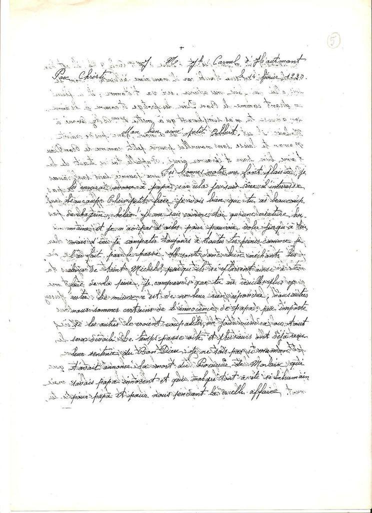 Lettre de Marie à Albert. 14 février 1930.