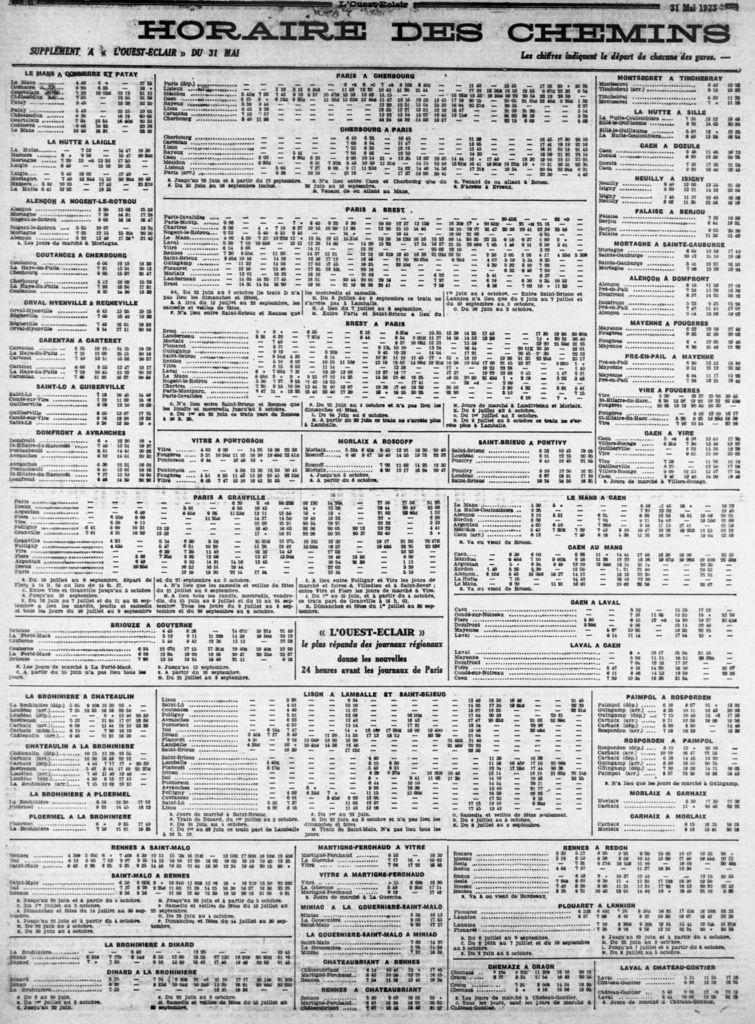 Horaires chemin de fer Brest - Paris en mai 1923.
