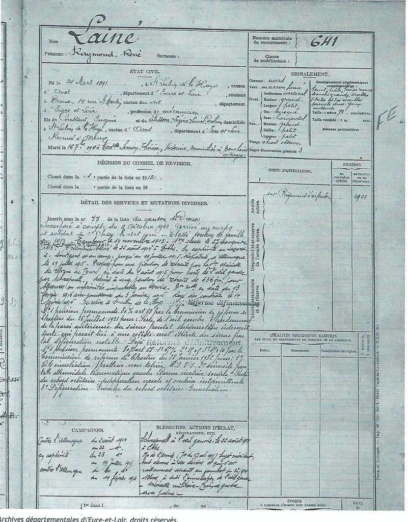 Raymond Lainé. Registre Matricule.