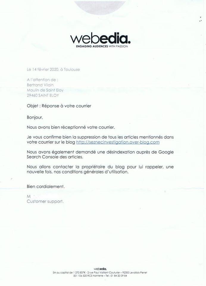 La curieuse lettre WEBEDIA de Bertrand Vilain...