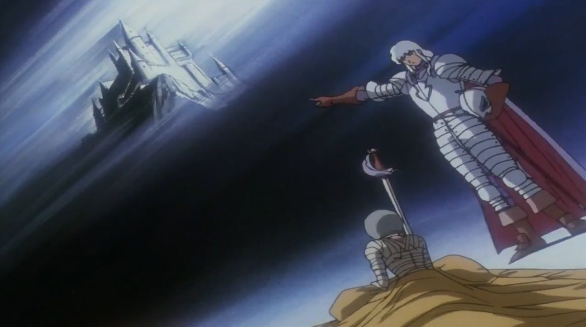 To be fair with Griffith, I believe that he's a broken man from the start, that he's been through worse than Guts or Casca or any of the members of the band of the Falcon. The godlike Griffith is a constructed image whereas the emaciated, incapacitated one is the one he truly is inside: an atrophied, crippled individuality, wearing the mask of a Falcon.