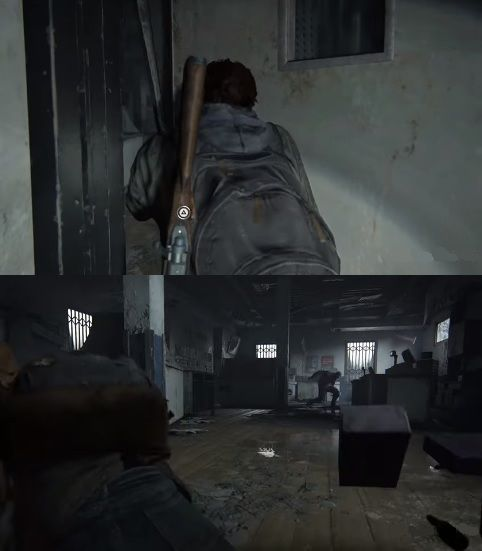 While exploring further, Ellie finds herself forced to push a blocked door that could not have been blocked this way by runners. By doing so, she knocks something over and attracts an infected. All this looks like everything was prepared for her exploration and detection.