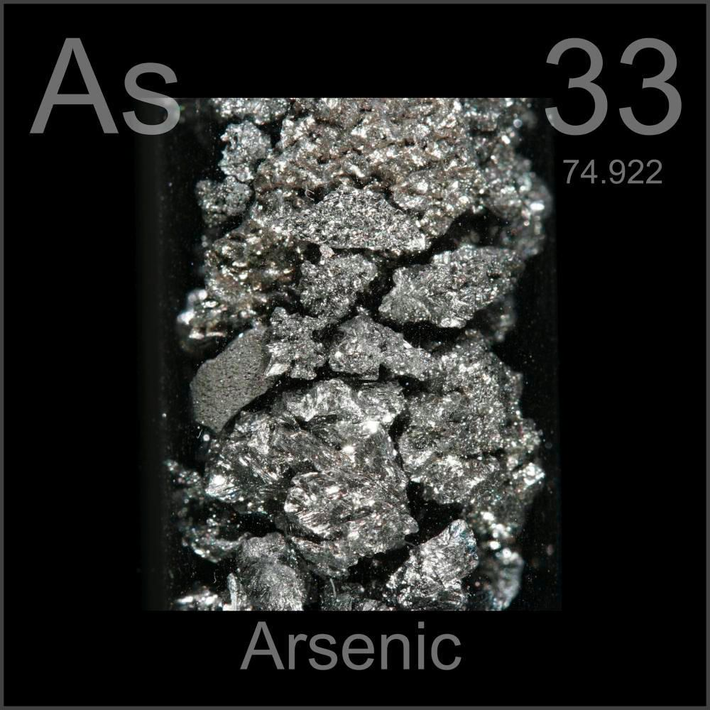 Photo de l'arsenic (source: http://www.periodictable.com/Samples/033.7/s13.JPG)