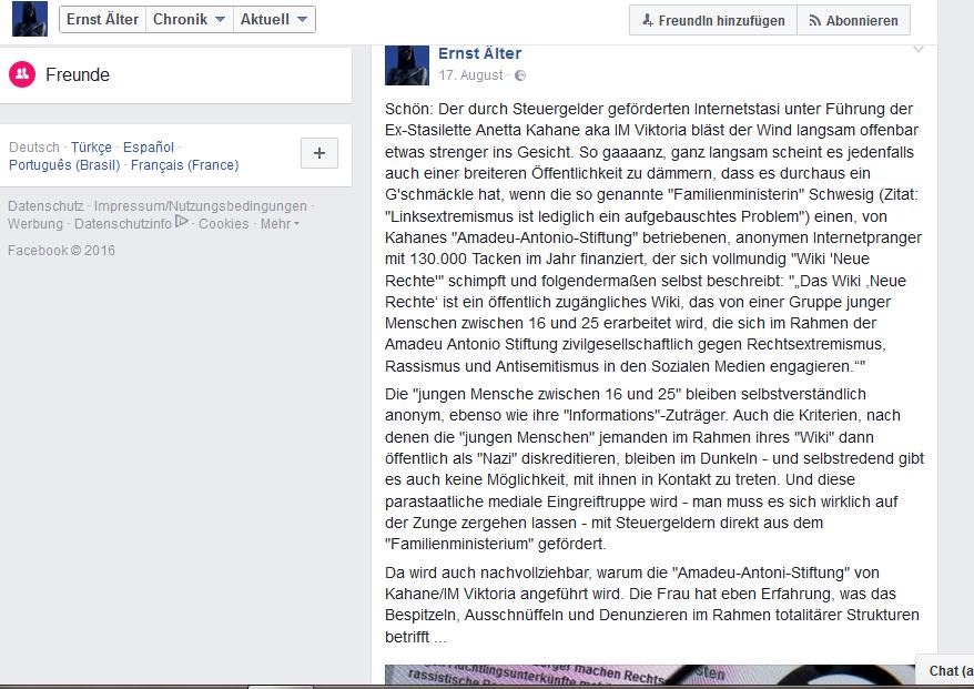 """Kommentar von """"Ernst Älter"""" zur Amadeu Antonio-Stiftung"""