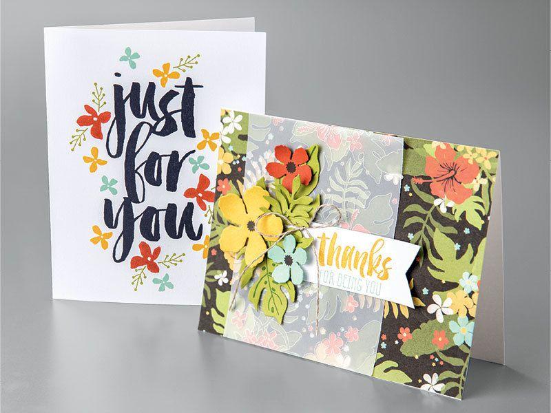 Stampin Up sur le bloc de papier Vélin Design Jardins Botaniques