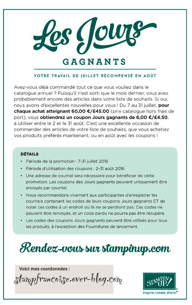 Flyer jours gagnants Stampin Up