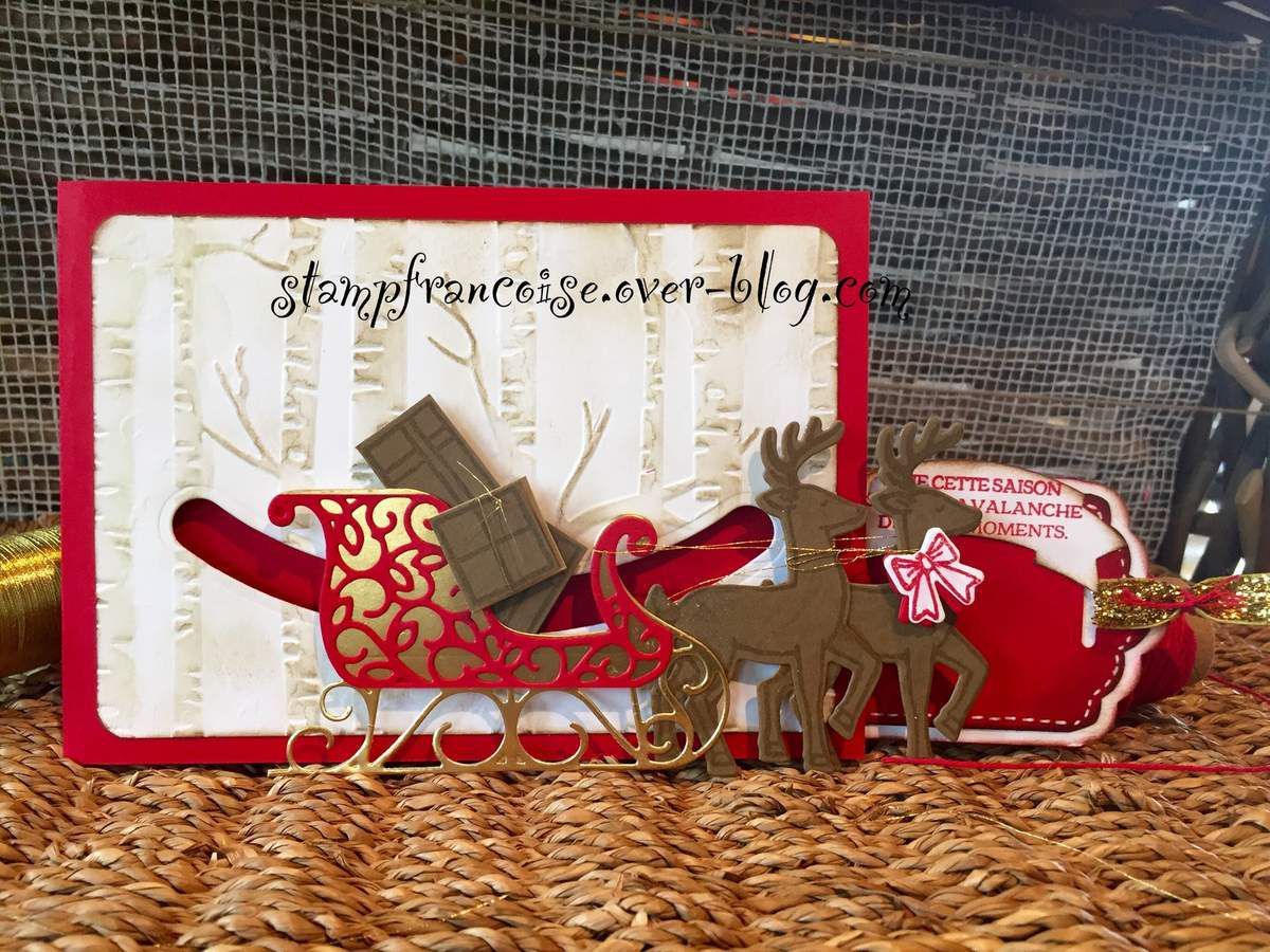 Stampin Up set de tampons et poinçons traineau de Noel Santa's Sleigh Dies Thinlits