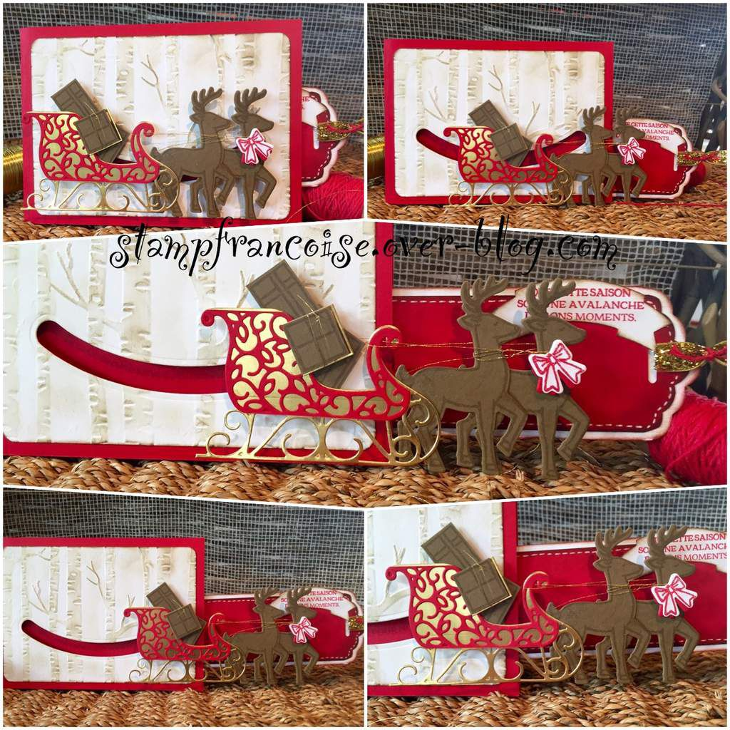 Stampin Up set de tampons et poinçons traineau de Noel ,Santa's Sleigh Dies Thinlits