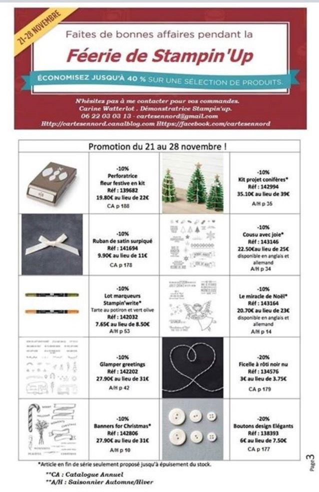 Stampin'up PROMOTIONS Catalogue Automne Hiver lundi 21 novembre au 28 novembre
