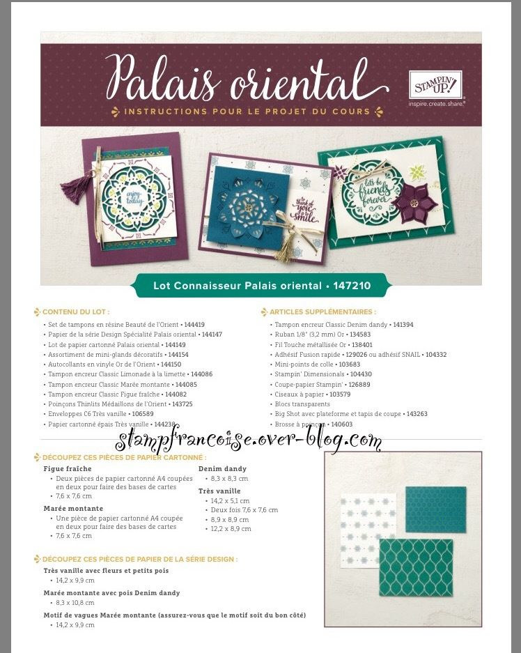 Stampin Up collection Palais Oriental issue du catalogue 2017/2018  / Eastern Palace Suite