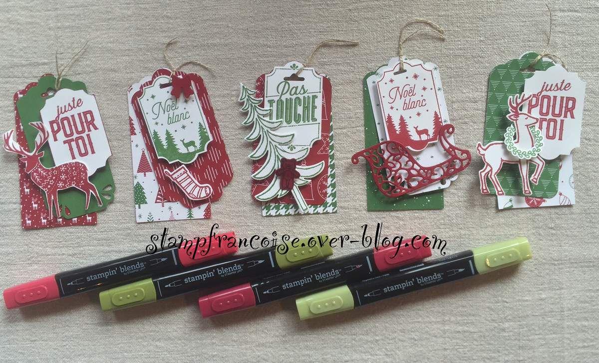 Stampin'Up ! Projet Atelier Traineau de Noel / santa's sleigh  Joyeuses Petites etiquettes / Merry little labels