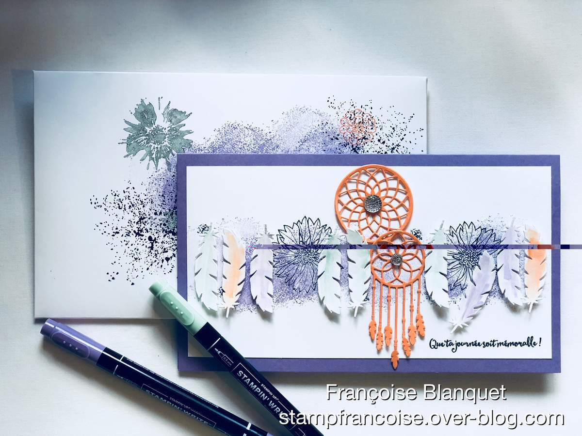 Stampin'Up!  carte Follow your Dream Attrapes rêves + Touches of Texture