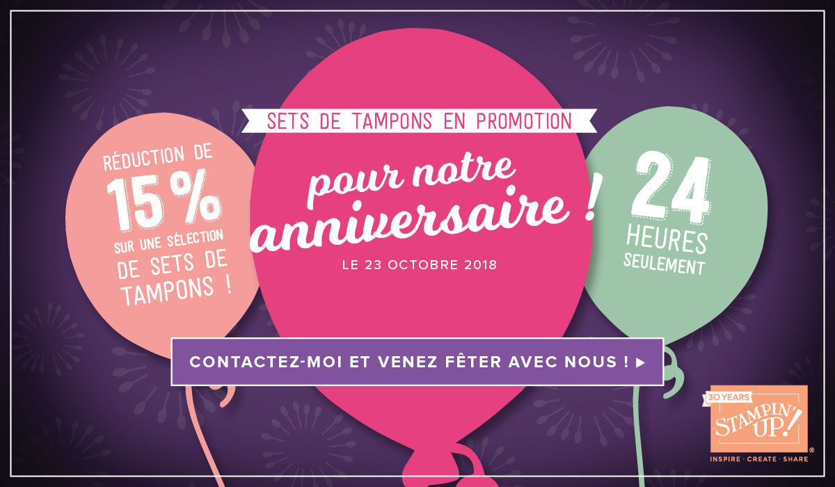 STAMPIN'UP!  PROMOTIONS -15%  pendant 24h  le 23 Octobre