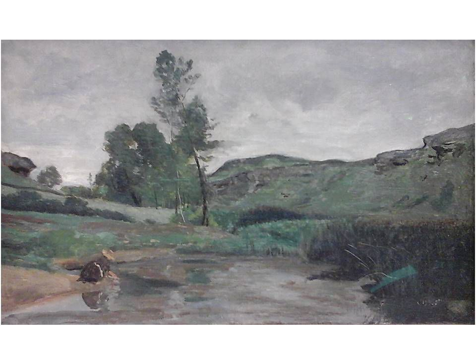 Camille Corot (1796-1875) Blanchisseuse au bord de l'eau à Optevoz (Isère) 1852