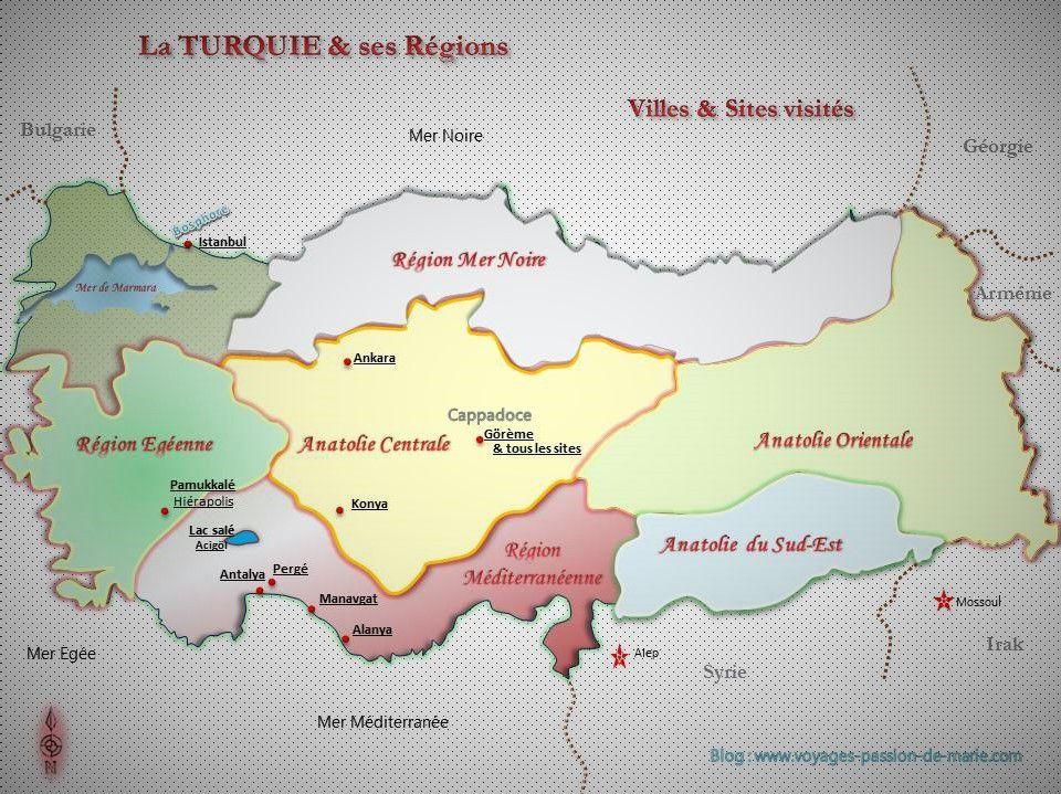 Carte de Turquie, ses régions, ses villes... visitées en 2007 et 2014