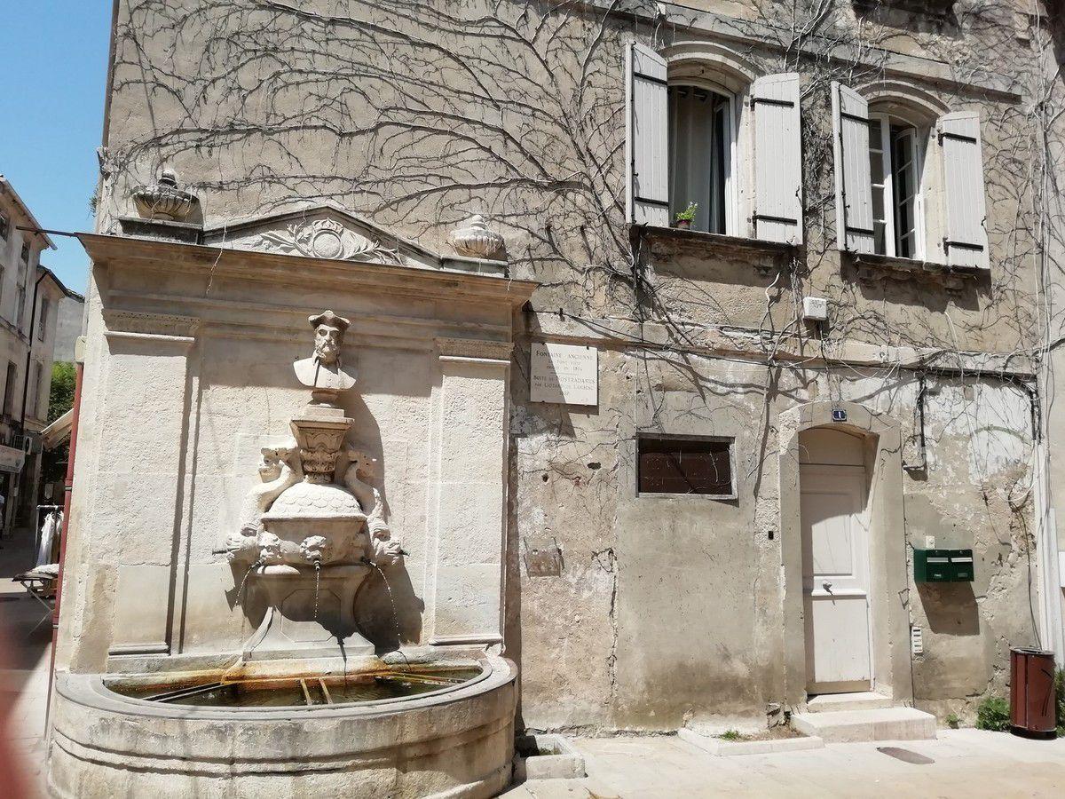 Première photo, la fontaine de Nostradamus... Clic sur image pour l'agrandir