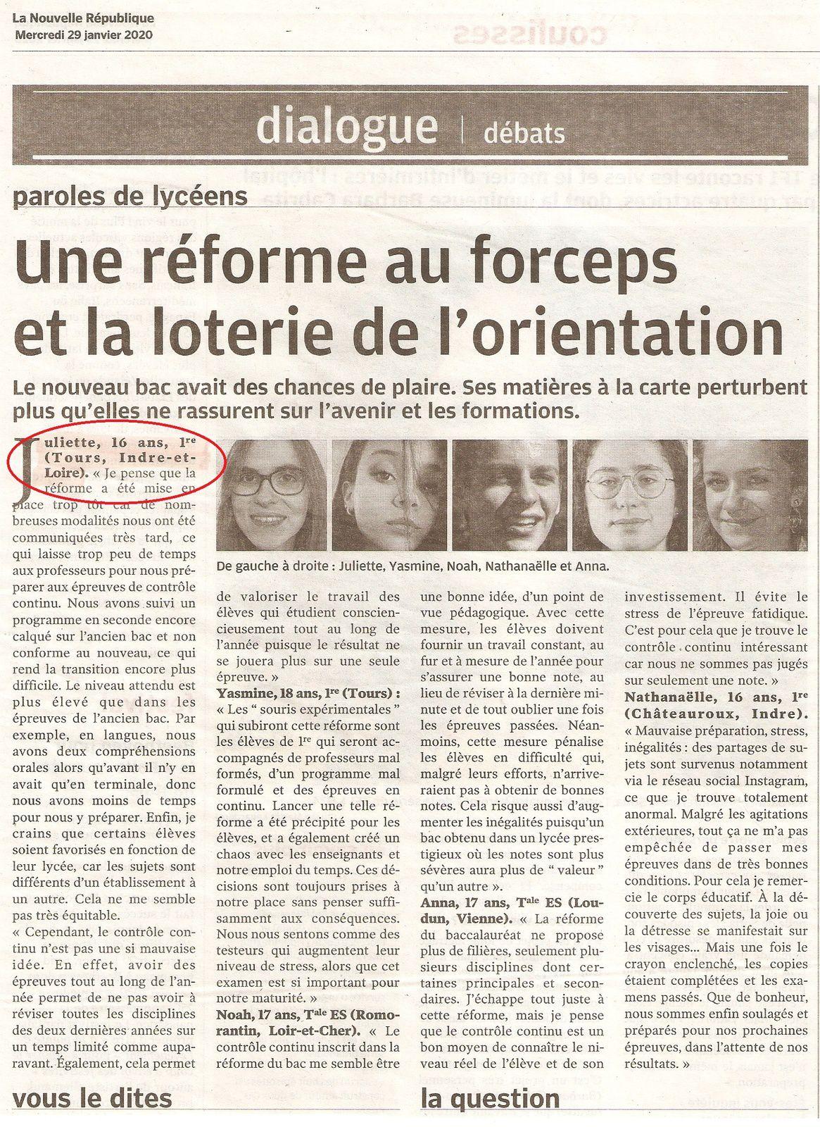 """""""Paroles de Lycéens"""" et de... Juliette 16 ans jeune reporter"""
