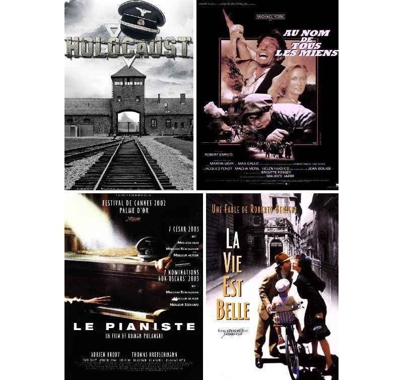 Holocauste (Marvin Chomsky) - Au nom de tous les miens (Roberto Enrico) - Le pianiste (Roman Polanski) - La vie est belle (Roberto Benigni)