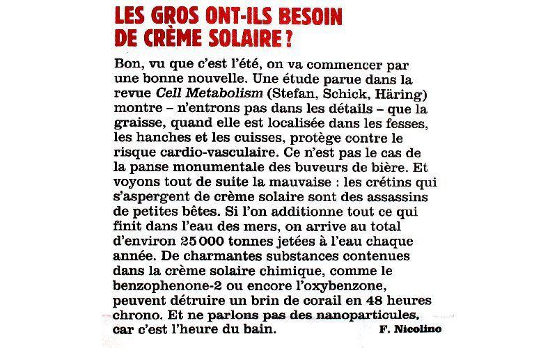 Les gros ont-ils besoin de crème solaire ? - Fabrice Nicolino - Charlie Hebdo N°1307 - 9 août 2017