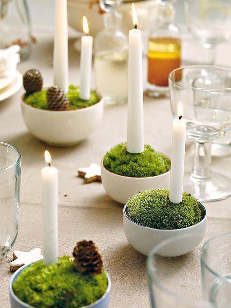 decoration table de noel bougeoir mousse verte