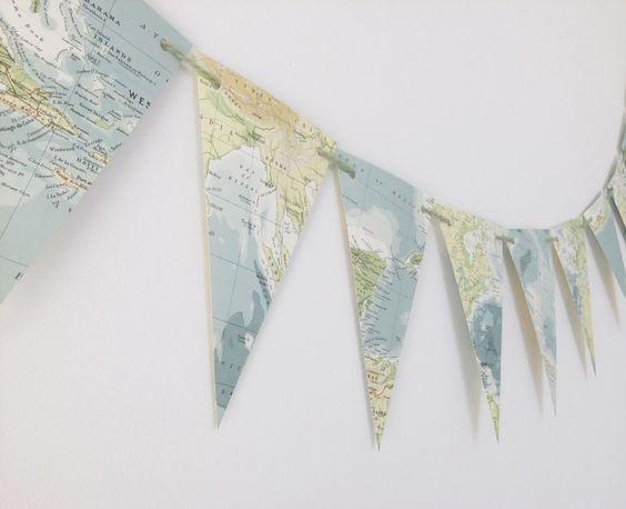 guirlande de fanions carte géographique