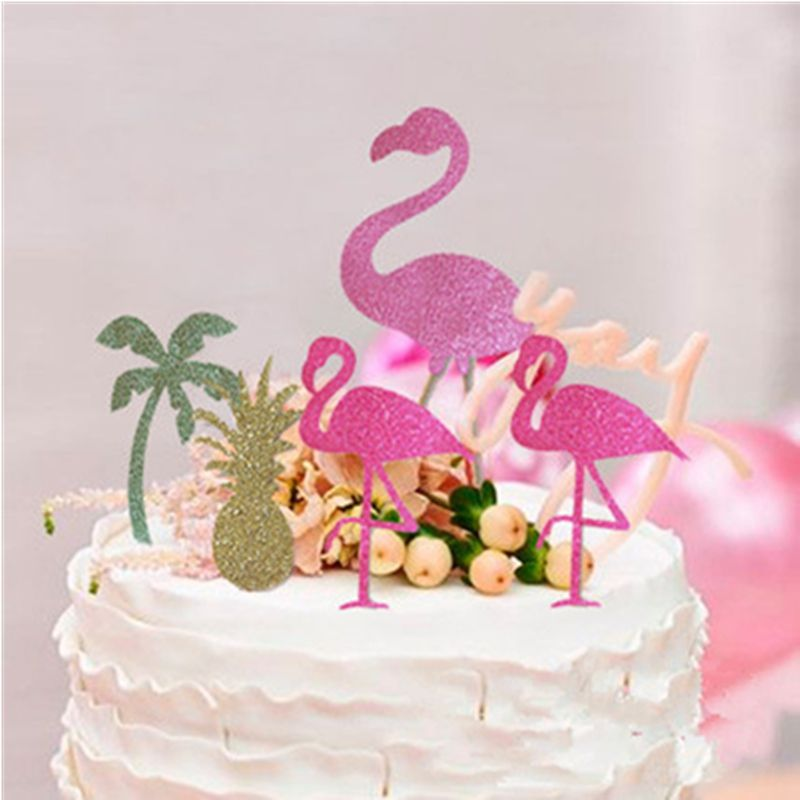cake topper flamant rose
