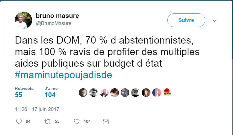Législatives: Bruno Masure stigmatise et méprise les Français d'outre-mer