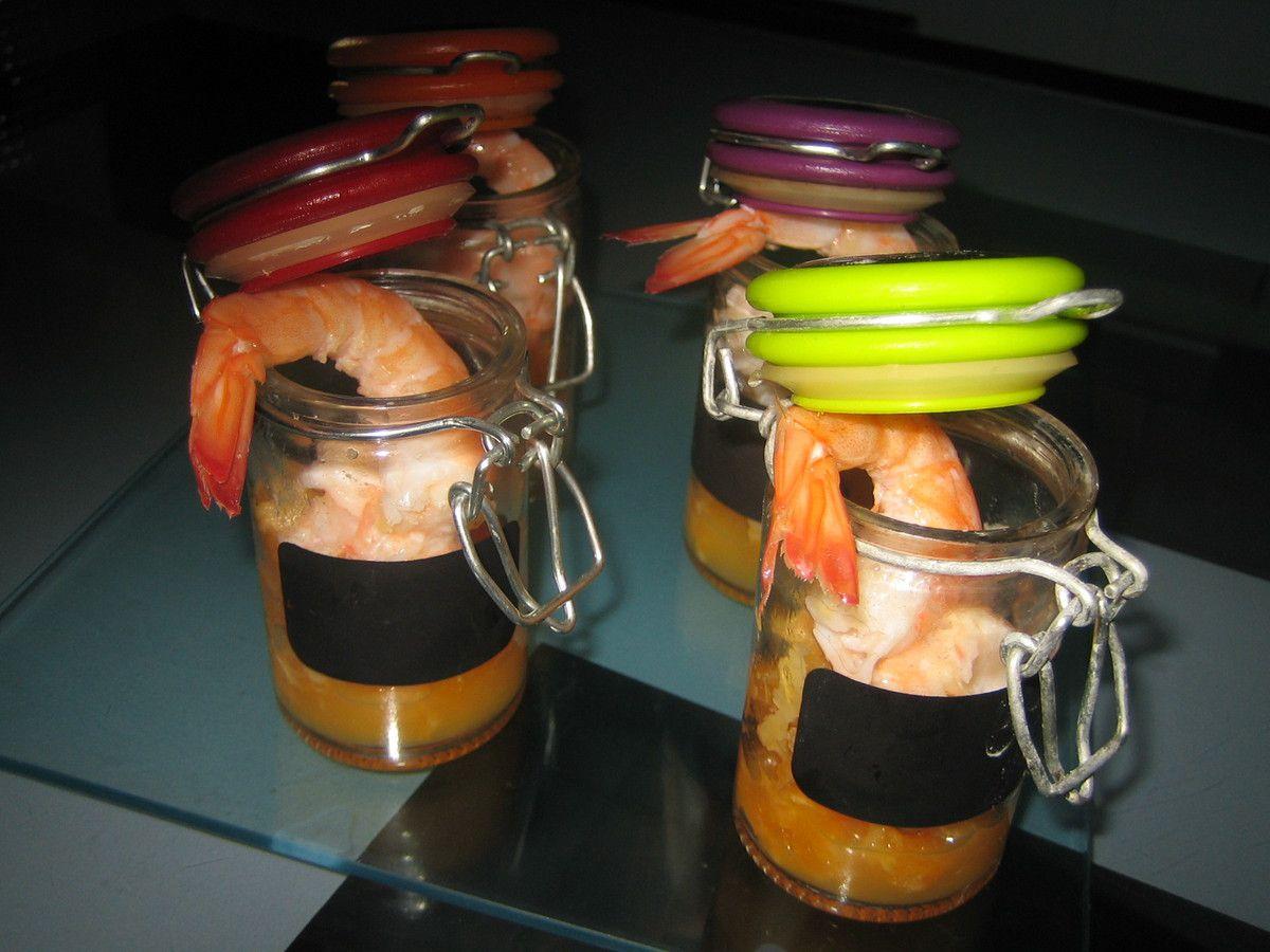 verrines apéritives: crevettes, mandarines, citron vert et gingembre frais