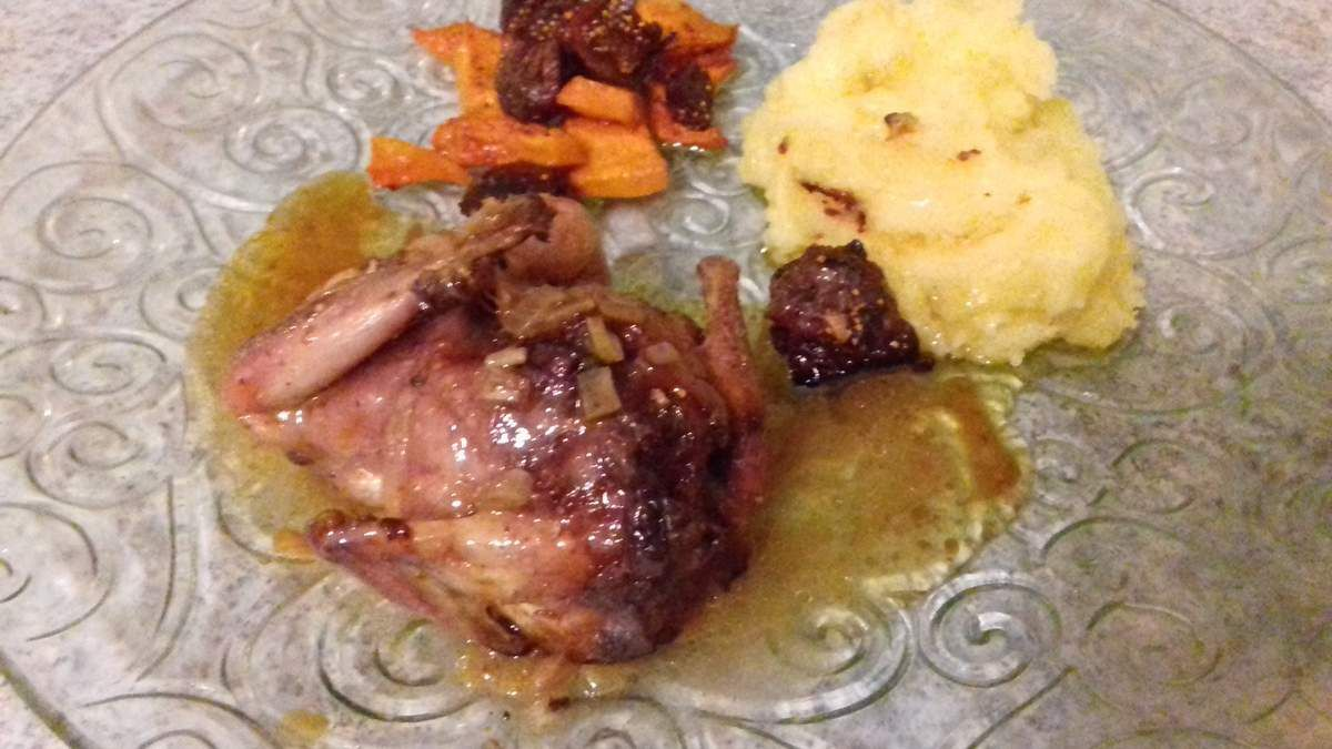 caille désossée farcie au foie gras et figue