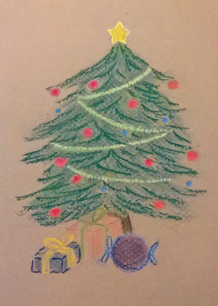 dessin sapin de Noël pastel cadeaux liste merry christmas drawing