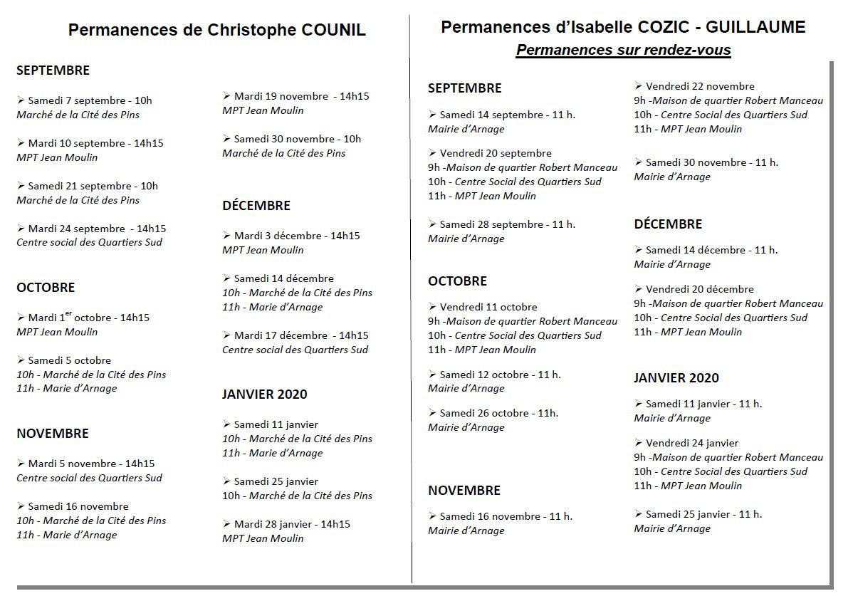 Calendrier des permanences du second semestre