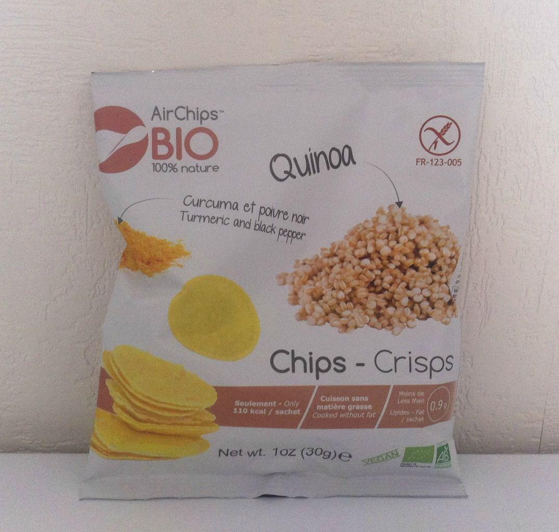 1 paquet de chip's quinoa ,curcuma et poivre noir Air chip's bio ,sans gluten ,sans lactose ,sans additif ,non frites ,convient aux végétariens et végétaliens.