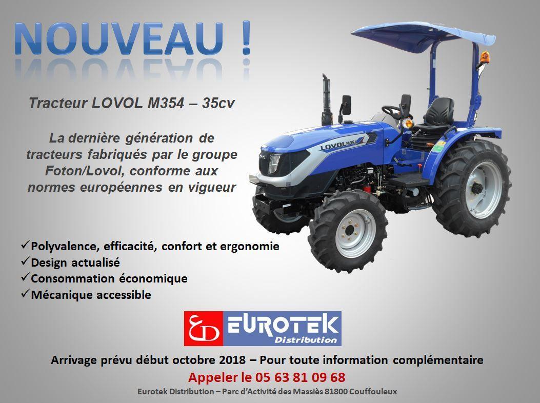 Arrivage du nouveau tracteur Lovol 35cv en octobre 2018