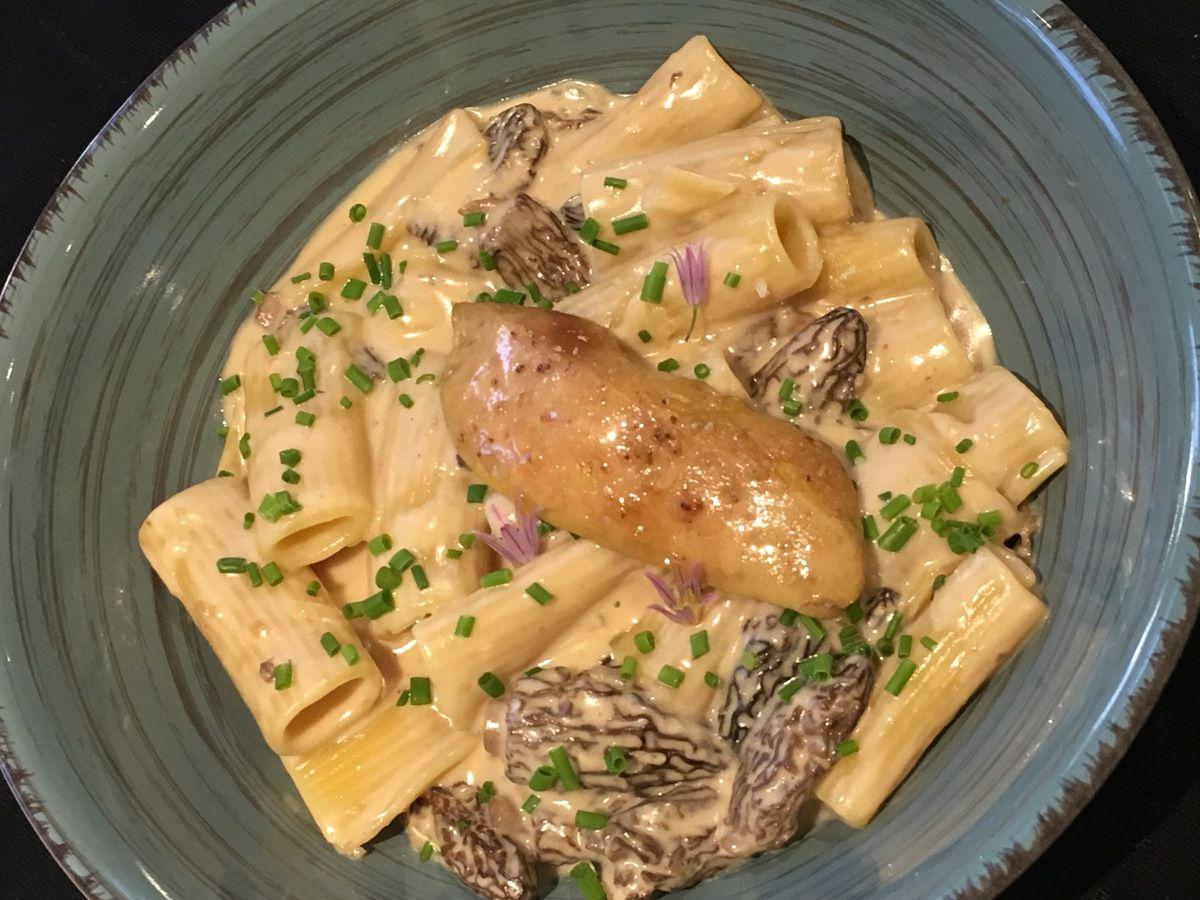 Risotto de rigatoni aux morilles et foie gras