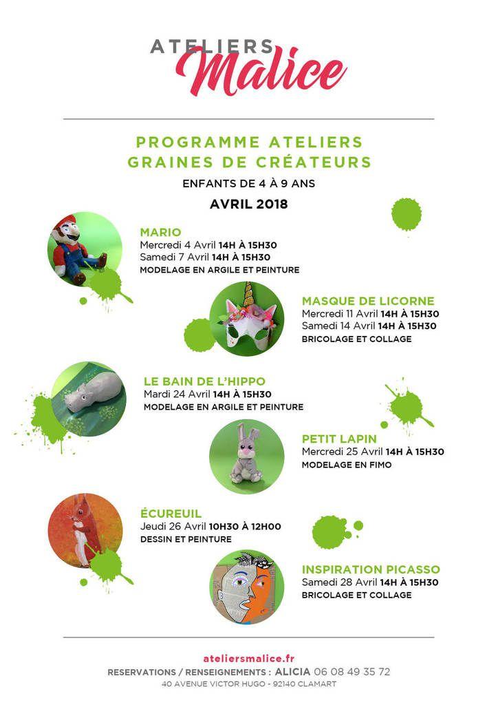 Programmes pour le mois d' Avril !