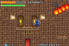 Choisissez votre mission (l'ordre est préférable car la difficulté est évolutive), le grappin et les évolutions de pouvoirs du ninja cop, sauvetage imminent d'un otage et enfin son super pouvoir