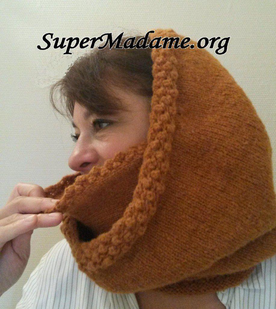  Modèle tricot gratuit : cagoule capuche avec cache-nez
