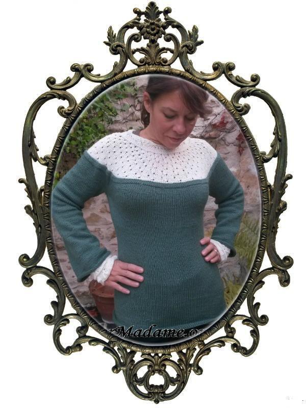 Modèle de tricot gratuit pull femme empiècement rond ajouré Renaissance