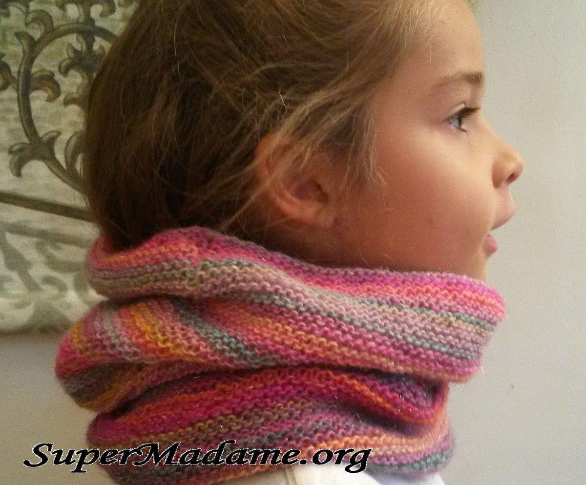 Tuto tricot snood-cagoule licorne arc en ciel
