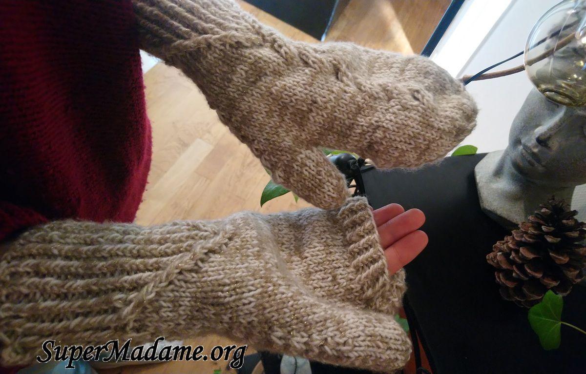 Moufles convertibles mitaines modèle tricot