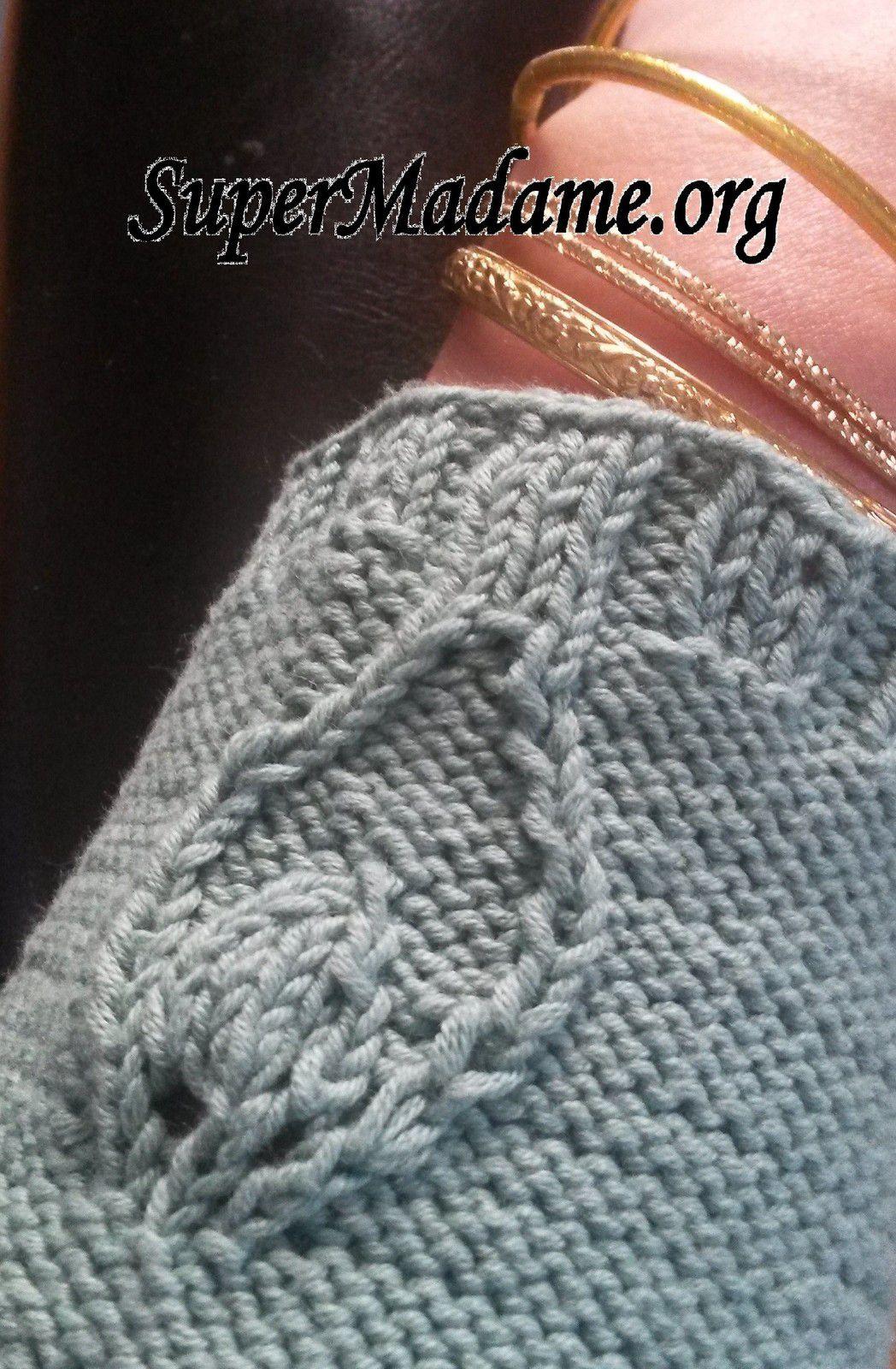 Tuto tricot gilet femme motif plume de paon